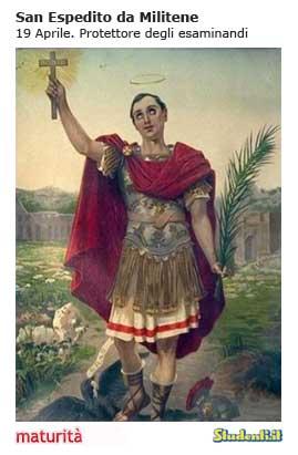 Maturità: il santino di San Espedito da Militene