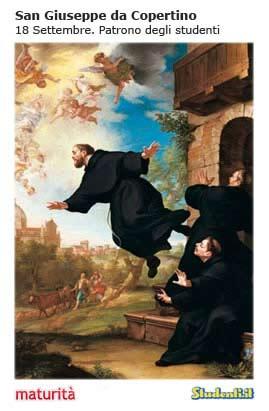 Maturità, il santino di San Giuseppe da Copertino e la preghiera dello studente