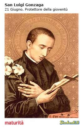Maturità: il santino di San Luigi Gonzaga