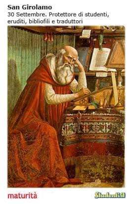Esame di maturità, il santino di San Girolamo