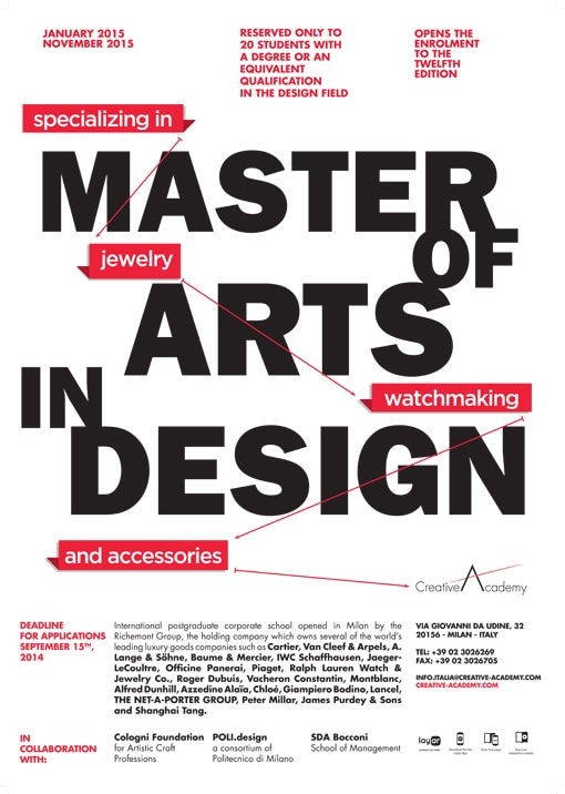 Borse di studio per il Master of Arts in Design and Applied Arts di Creative Academy