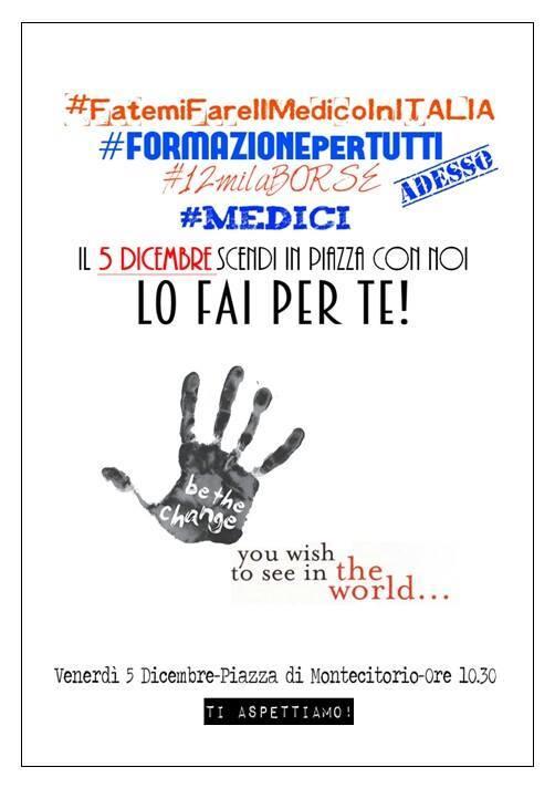 Test Specializzazioni Medicina: proteste 5 dicembre